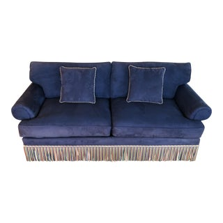 "1990s Vintage Traditional Ultrasuede 84"" Sofa For Sale"