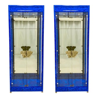 Pair of Asian Modern Faux Lapis Cabinets For Sale