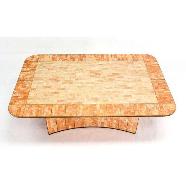 Mid 20th Century Maitland Smith Tessellated Stone Brass Mid Century Modern Rectangle Coffee Table For Sale - Image 5 of 10