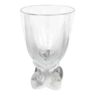 Vintage Mid Century Signed Lalique Glass Vase For Sale