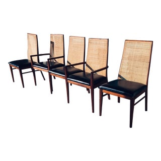 1970s Milo Baughman for Dillingham Rosewood and Walnut Dining Chairs- Set of 6 For Sale