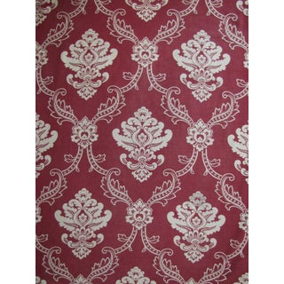 Antique French Art Nouveau Red Floral Cotton Fabric Curtain - 2.77 Yards For Sale
