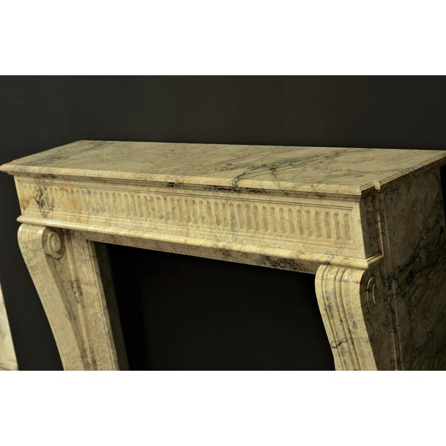 Marble Antique Escallete Marble Louis XVI Fireplace Mantel - Free Shipping - For Sale - Image 7 of 9