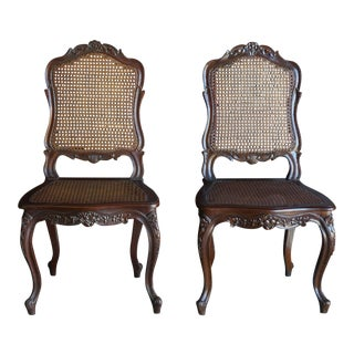 French Provincial Style Cane Dining Chairs - a Pair