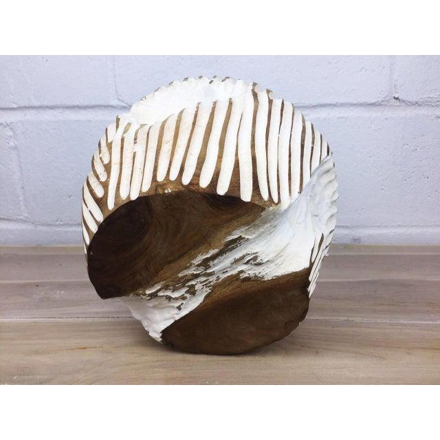 Brown Handmade Teak Wood Bowl For Sale - Image 8 of 11