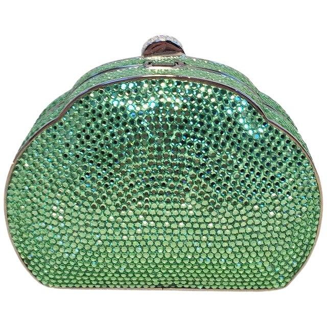 Judith Leiber Green Swarovski Crystal Minaudiere Evening Bag For Sale
