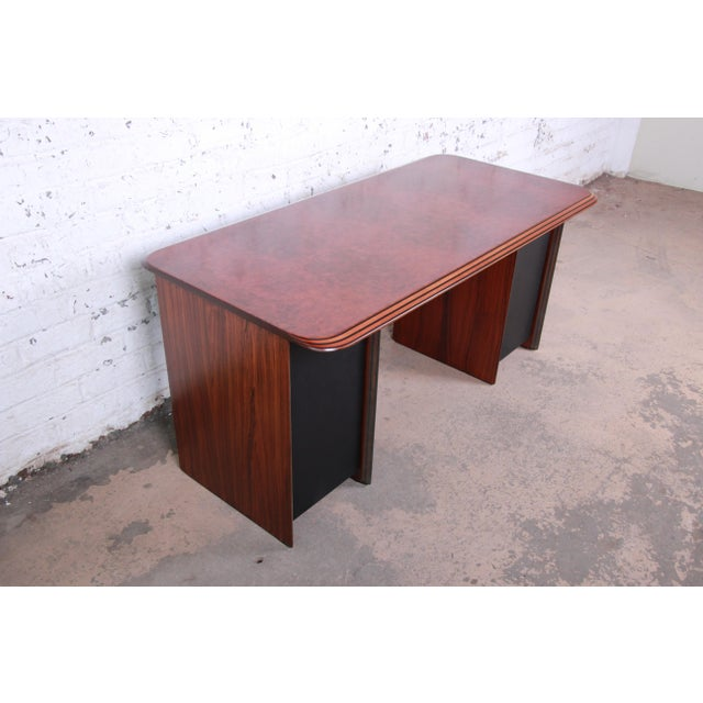 Afra and Tobia Scarpa for B&B Italia Rosewood, Burl and Leather Desk, 1970s For Sale - Image 13 of 13