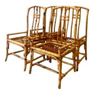 Vintage Coastal Bamboo Dining Chairs - Set of 4 For Sale