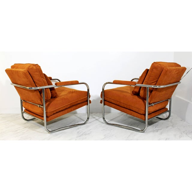1970s Mid-Century Modern Pair of Tubular Chrome Lounge Chairs and Ottoman For Sale - Image 5 of 11