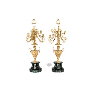 Mid-19th Century Gilt Bronze Five Arms Candelabra - a Pair For Sale