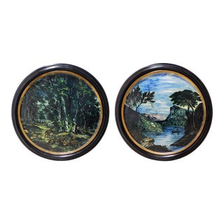 Large Pair of 19th Century Italian Glazed-Majolica Framed Plaques For Sale