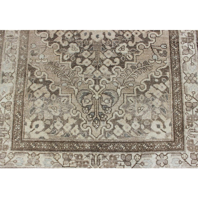 Neutral Tone Vintage Persian Lilihan Rug With Medallion For Sale - Image 10 of 13