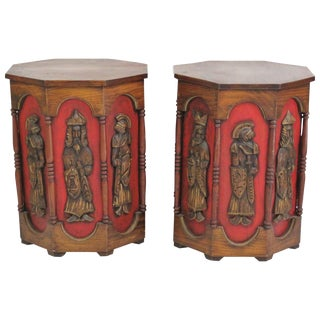 Pearsall Attributed Carved Walnut Octagonal End Tables - a Pair