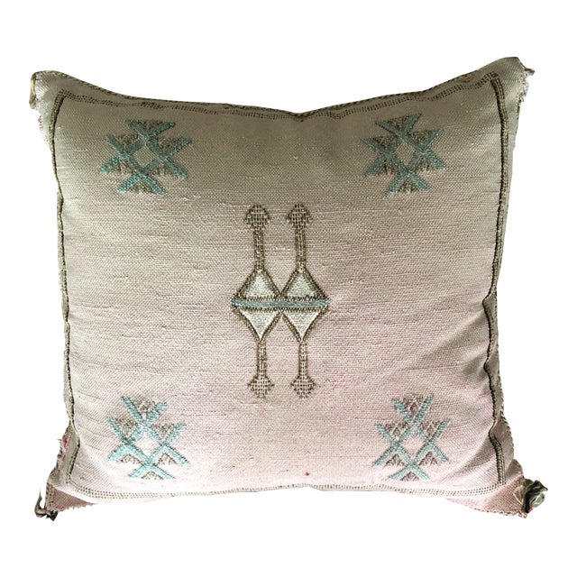 Pale Pink Cactus Silk Pillow For Sale