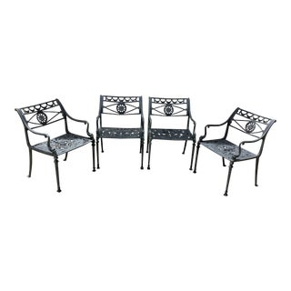 1970's Molla Neoclassical Dolphin Outdoor Dining Chairs - Set of 4 For Sale