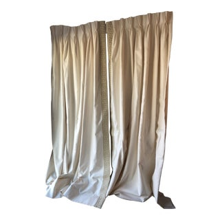 Cream Custom Made Drapes With Trim on Leading Edge - a Pair For Sale
