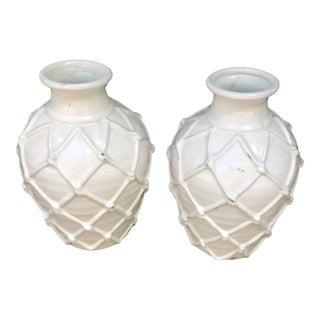 White Glazed Crisscross Pattern Ceramic Vases - a Pair For Sale