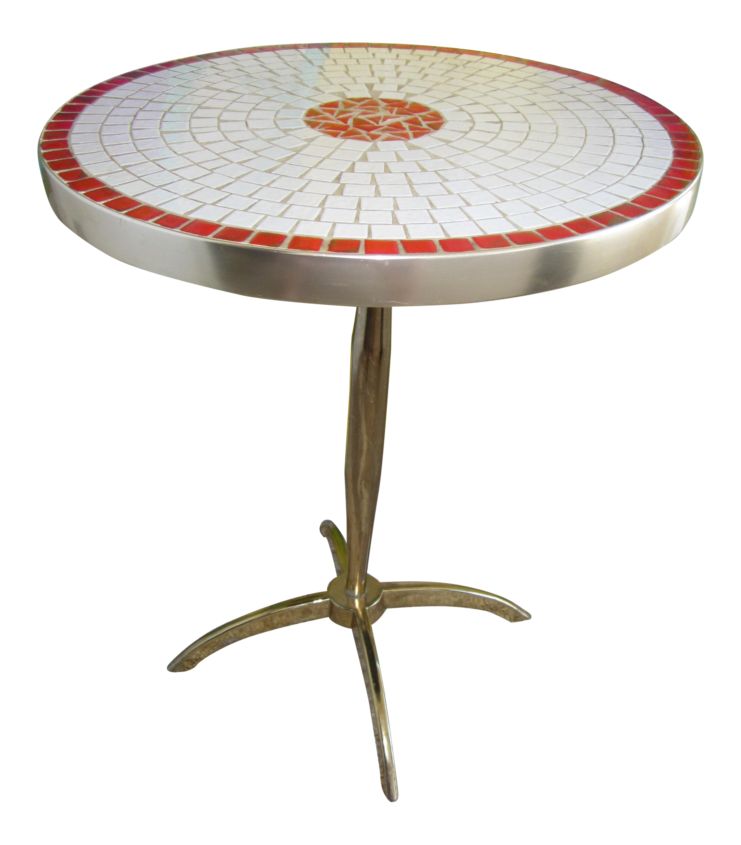 Vintage Mid Century Modern Alanbee Chicago Mosaic Side Table For Sale