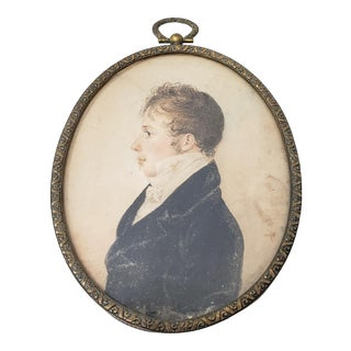 19th Century Miniature Watercolor Portrait of a Young Man For Sale