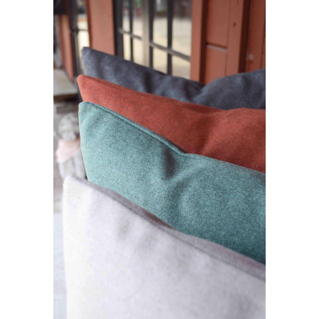 Contemporary FirmaMenta Italian Solid Sage Green Sustainable Wool Pillow For Sale - Image 3 of 9