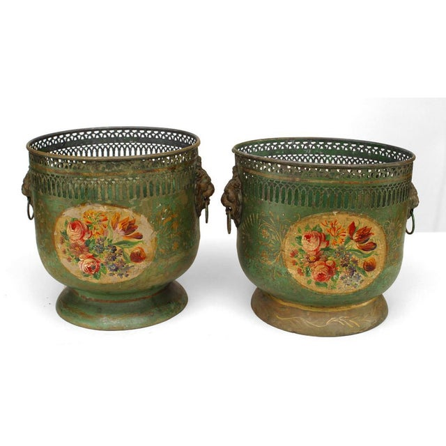 Pair of French Victorian Green Tole Cachepots For Sale - Image 4 of 4