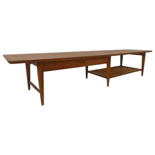 Mid-Century Lane Coffee Table With Drawer and Shelf For Sale