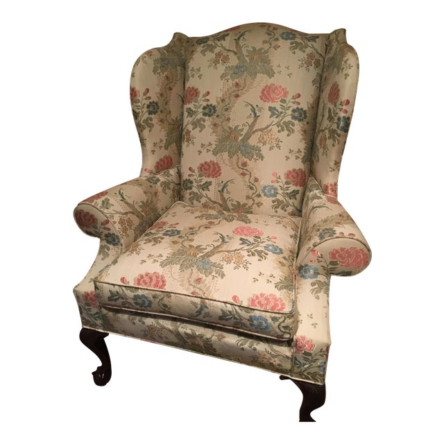 Kindle Floral Motif Wing Chair - Image 1 of 6