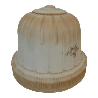 Antique Victorian Milk Glass Ceiling Hand Painted Flower Shade For Sale