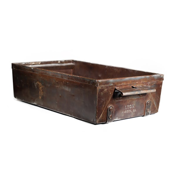 4 have sold-4 are still available. Set of 4 antique steel drawers, circa 1930-1940, with two handles on either side of...