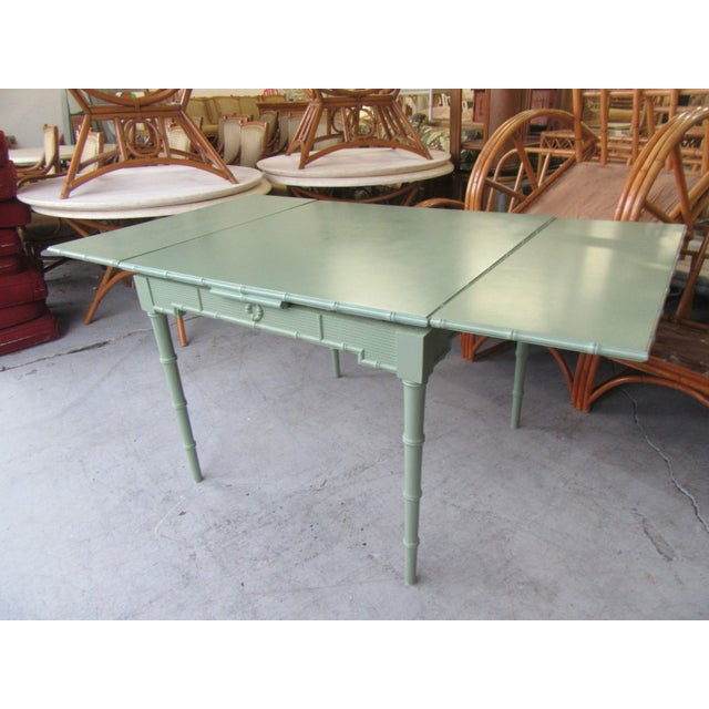 Omega Extendable Faux Bamboo Dining Table For Sale In West Palm - Image 6 of 8