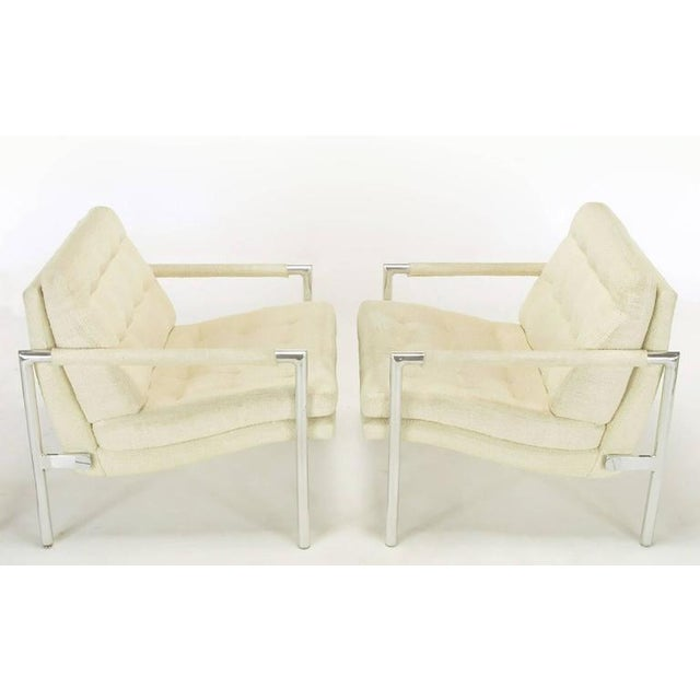Pair of Polished Aluminum & Linen Lounge Chairs in the Manner of Harvey Probber - Image 4 of 9