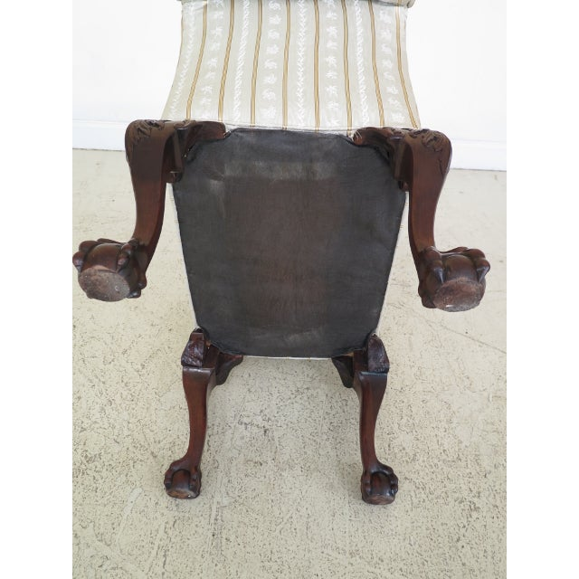 1990s Chippendale Carved Mahogany Rolled Arm Bench For Sale - Image 12 of 13