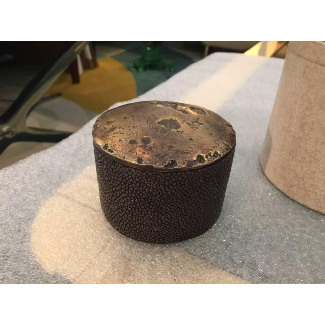 Contemporary Collection of Shagreen and Bronze Lid Boxes For Sale - Image 3 of 5