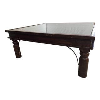 Anglo Indian Wooden Coffee Table With Iron and Glass For Sale