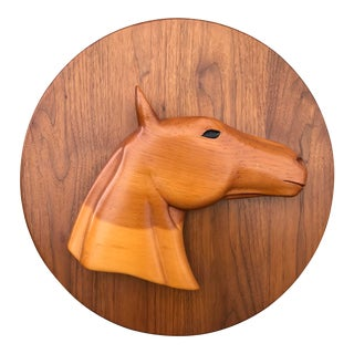 Mid Century Carved Wood Horse Head Wall Sculpture For Sale