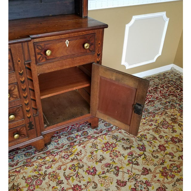 19th Century Antique Oak Inlaid Welsh/Jacobean Style Dining Room Hallway Cabinet Cupboard Hutch For Sale - Image 10 of 11