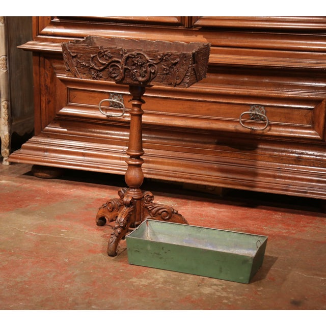 19th Century French Carved Walnut Black Forest Pedestal Jardiniere With Liner For Sale In Dallas - Image 6 of 11
