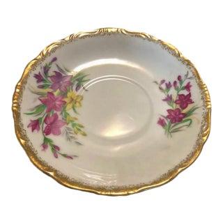 Vintage Pink Flowered Saucer With Gold Rim For Sale
