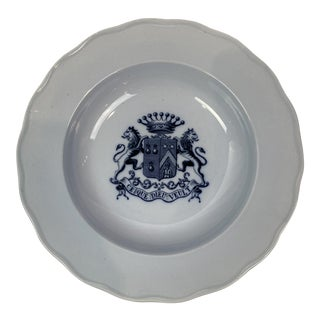 English Transferware Soup Bowl With Crest For Sale