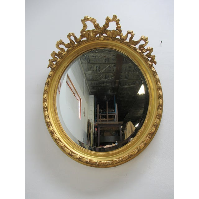 Vintage French Regency Gold Gilt Oval Hanging Wall Mirror For Sale - Image 9 of 13