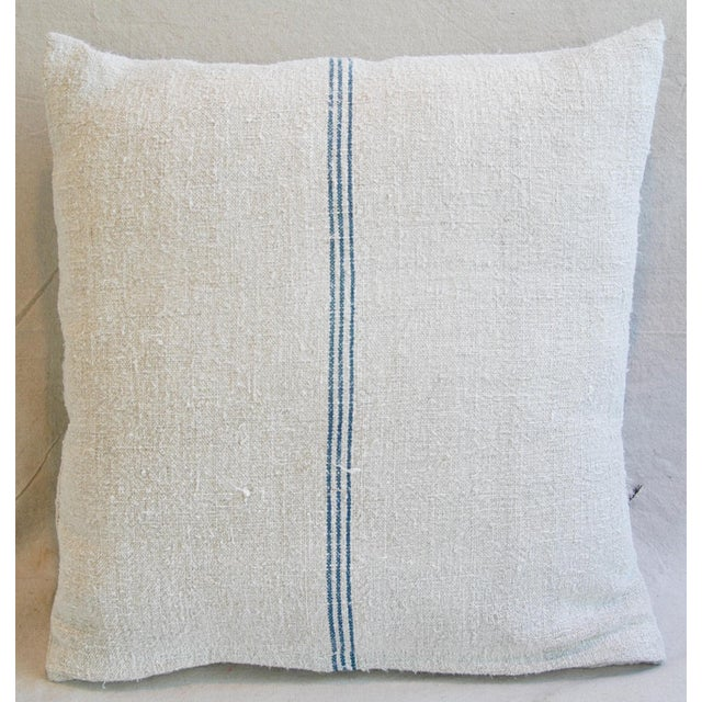 Custom French Grain Sack Down & Feather Pillows - Pair - Image 5 of 9