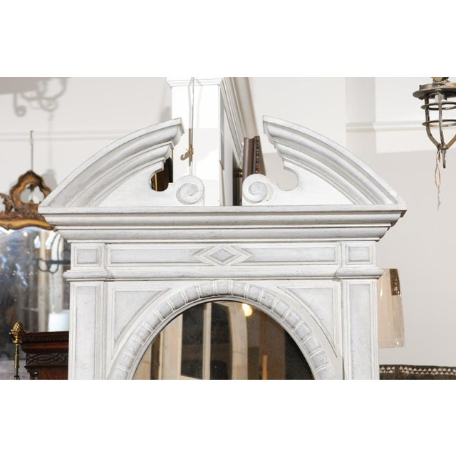 Renaissance Style 1850s Belgian Painted Oval Mirror with Broken Arch Pediment For Sale - Image 10 of 12