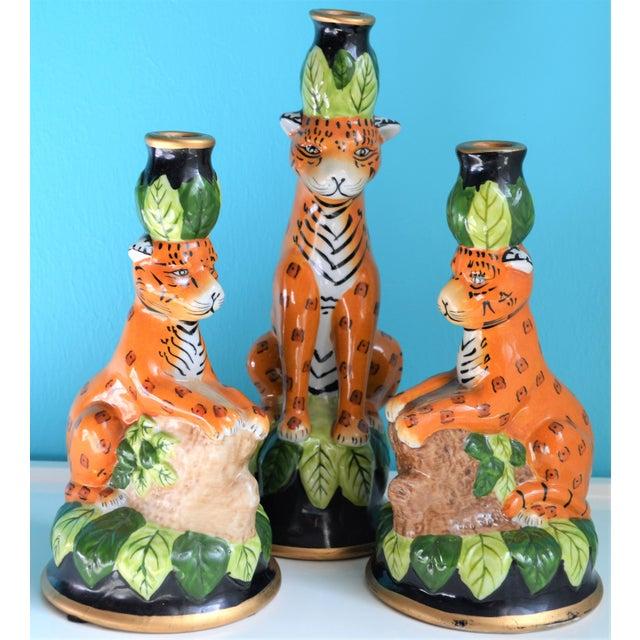 1980s Vintage Palm Beach Regency Leopard Candle Holders- Set of 3 For Sale - Image 5 of 9