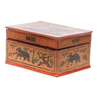 Asian Antique Hand-Painted Red Burmese Lacquered Box For Sale