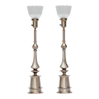 Pair of Pewter & Copper Lamps by Rembrandt For Sale