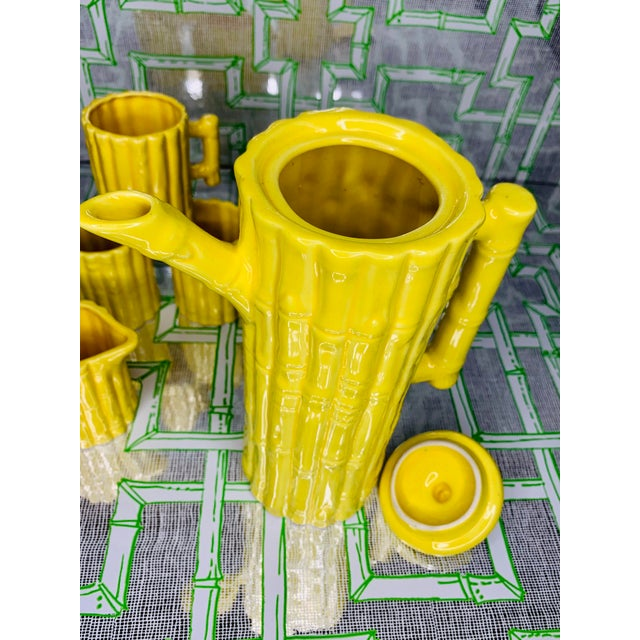 Yellow 1960s Hollywood Regency Faux Bamboo Tea Set - 5 Pieces For Sale - Image 8 of 13
