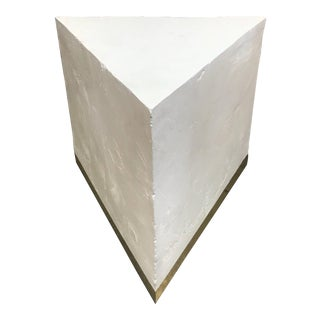 Brass Base Plaster Triangle Table Style of Sirmos Quarry Stone