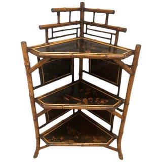 19th Century English Bamboo Corner Etagere For Sale