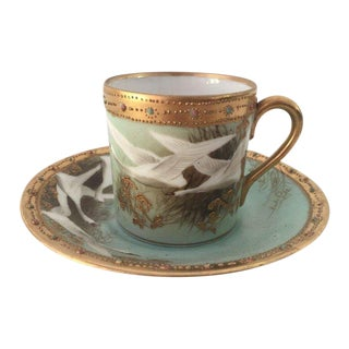 Antique Hand Painted Nippon Demitasse Cup & Saucer For Sale