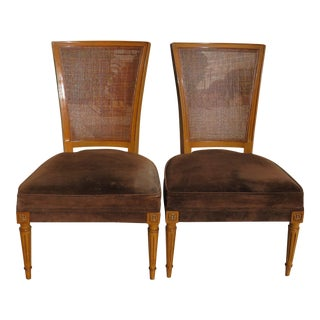 Vintage French Provincial Cane Back Slipper Chairs - a Pair For Sale